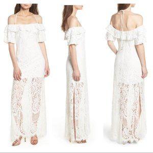 NWT WAYF Odette White Long Lace Maxi Dress S